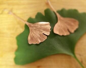 Copper Ginkgo Leaf drop earrings