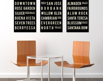 SAN JOSE Art Poster. Subway Sign Print. Christmas Gifts. Wall Art. Black and White.  Typographic Art.  Modern Home Decor.  Gift. Set of 3