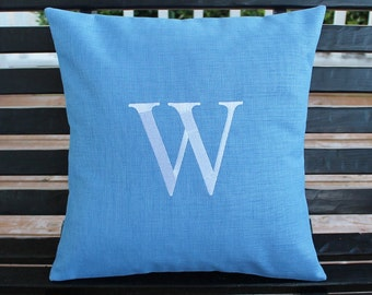 Initial Outdoor Pillow Cover in Pool Blue  | Personalized | Alphabet | Embroidered | Monogrammed | Wedding