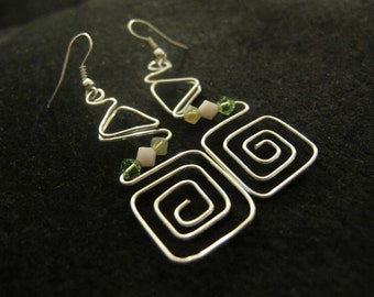 Silver wire wrapped abstract earrings pink green opal crystals