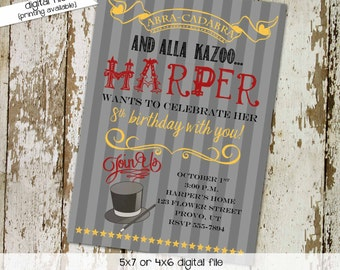 birthday invitation magic party magician hat wand circus stripe baby shower sprinkle vintage evite coed (item 233) shabby chic invitations