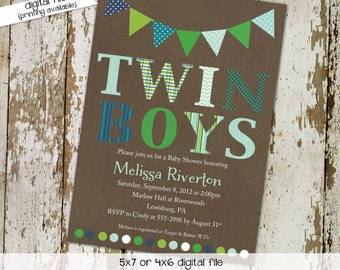 twin baby shower invitation polka dots bunting banner green blue sip and see baby sprinkle birthday diaper item 1516 shabby chic invitations