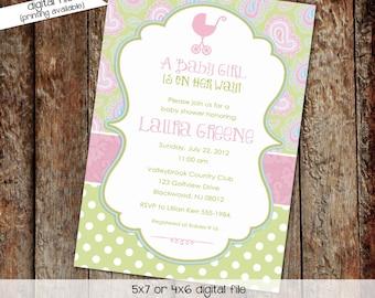 baby girl shower invitation paisley pink blue polka dot baby sprinkle couples diaper baptism birthday (item 1370) shabby chic invitations