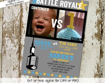 birthday party invitation battle royale boxing first birthday cake eating photo bash announcement twins (item 282) shabby chic invitation