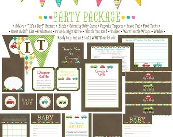 boy oh boy invitation kraft paper rustic chic baby shower party package gender reveal party game car truck wishes tag 1229 Katiedid designs
