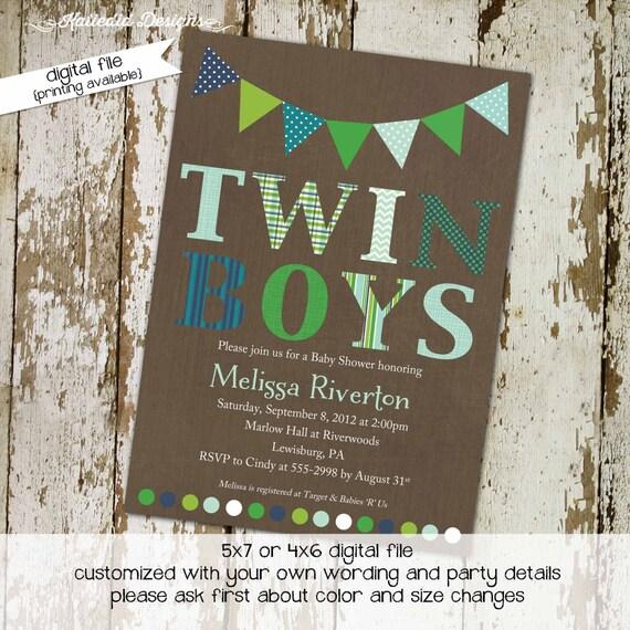 twin babies shower invitation rustic baby boy shower boy oh boy co-ed party diaper wipe brunch kraft paper rustic chic 1516 Katiedid designs