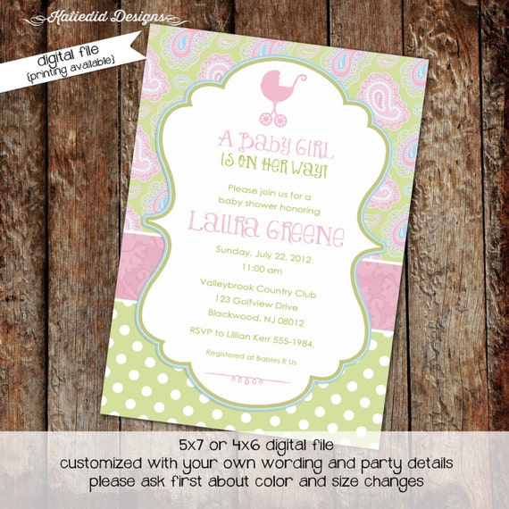rustic baby girl shower invitation co-ed baby shower diaper wipe brunch surprise gender paisley polka dots pastel pink 1370 Katiedid Designs