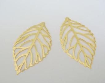 Matte Gold Tarnish Resistant Big  Leaf Branch pendants, connectors, leaf charm, 2 pc H62337