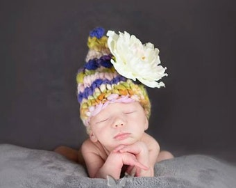 Zoey-Newborn-2T Photography Prop PATTERN, Fairy Hat, in Bulky Handspun, Boy, Girl, Unigender, Gnome