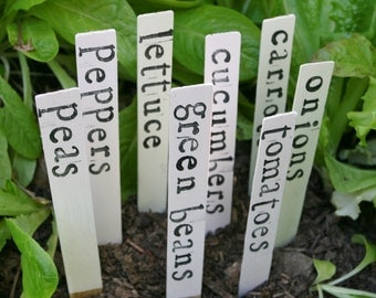 CUSTOM Set of 8 Garden Markers Garden Decor Wood Garden