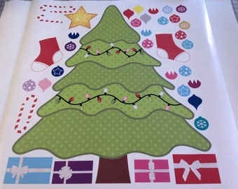 Christmas Tree Children Wall Decal For Nursery with Christmas Decoration and Ornament