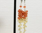 Long Chandelier earrings , Autumn color , Carnelian, Citron, Sterling silver Jewelry Birthstone Jewelry,