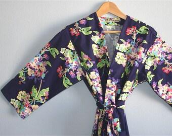 Purple Kimono Robe. Kimono. Purple Dressing Gown. Purple Water Bouquet.  Knee and Mid Calf Length. Small thru Plus Size Kimono 2XL.