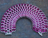 Pink Anodized and Bright Aluminum Dragonscale Cuff