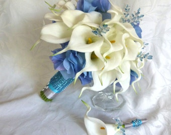 White Calla lily with blue hydrangea wedding bouquet Real touch mini white calla lily blue hydragnea bridal bouquet