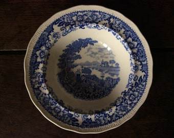 Vintage English blue and white small deep dish plate bowl soup breakfast circa 1920's / English Shop
