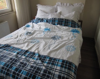 Blossom bedding-White turquoise blue gray plaid flower bloom-Duvet cover - quilt cover - doona cover - Cal King Queen Double Full bedding