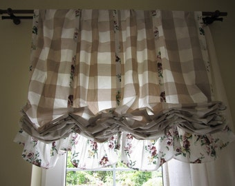 Valance Plaid floral ruffle kitchen curtain balloon Valance shabby chic beach cottage style linen rustic CURTAIN panels for cafe