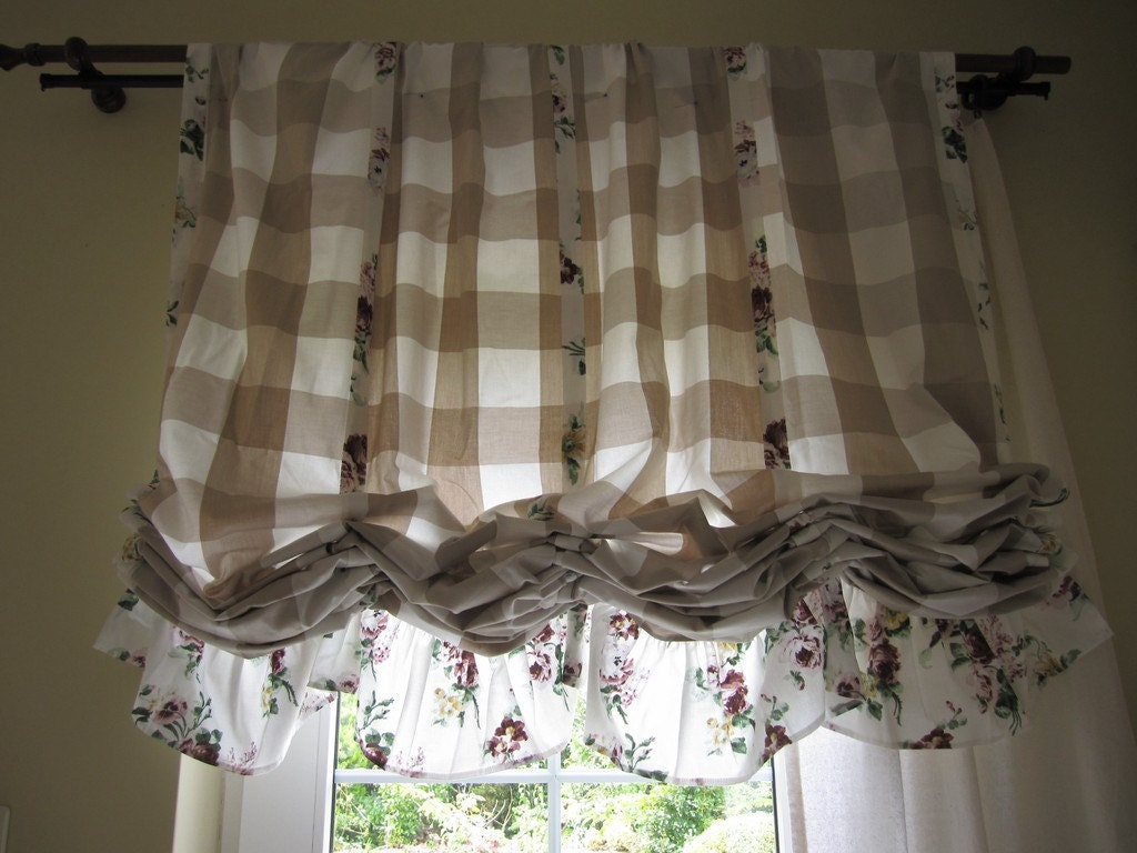 Balloon curtains kitchen - Valance Plaid Floral Ruffle Kitchen Curtain Balloon Valance Shabby Chic Beach Cottage Style Linen Rustic Curtain