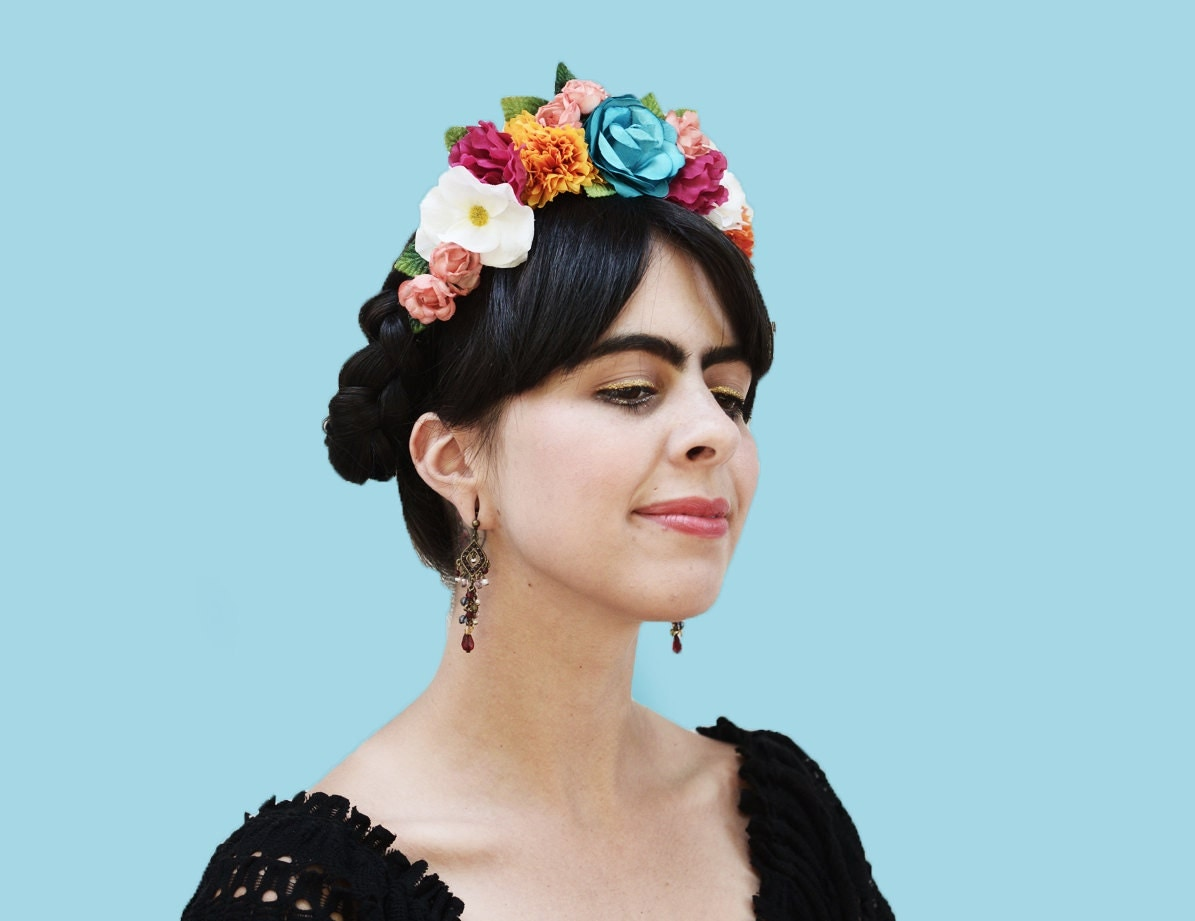 Reserved for Scarlett Frida Kahlo Colorful Floral Headband