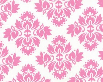 1/2 Yard of LOL KOTC AML White Pink Damask designed by Me & My Sisters Designs for Moda