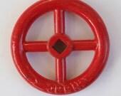 Vintage Valve-Vintage Faucet Handle-A Unique LARGE RED Vintage Factory,Urban Industrial Chic , Hardware,Outsider Art,Design