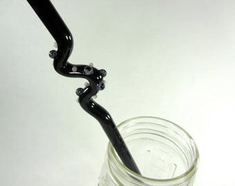Twisty Black Glass Straw with Beads