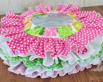 Pink and Green Leaf Fabric Tutu All Around  Ruffle Diaper Cover Bloomer Baby Bloomer Baby Skirt
