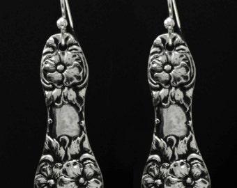 Spoon Jewelry,  Vintage Swedish Rose Ornate Spoon Earrings ..Silverware Jewelry