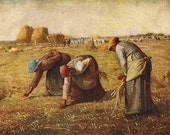 Vintage Postcard The Gleaners Peasant Women Gathering Grains of Wheat Art Print Millet Antique 1900s    Great to Frame