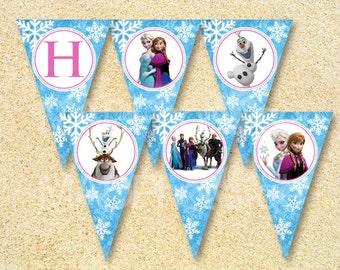 Frozen Happy Birthday Banner, Frozen Pennant banner, Instant Download, Frozen birthday invitation, Frozen birthday, Christmas, Baby Shower