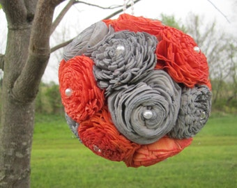 Coral and grey sola flower kissing ball - centerpieces or flower girl ball