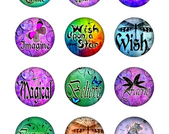 Dragonflies Butterflies Fairytale Inspiration Instant Download Resin Glass Pendants Digital Collage Sheet Round 1,2 Inch Jpeg Images (14-2)