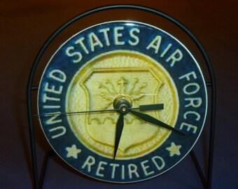 U.S. Retired Air Force  Recycled CD Clock Art