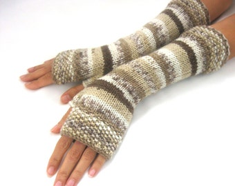 BEIGE multicolored  LONG Fingerless Gloves, Merino Wool Mittens, Arm Warmers , Hand Knitted, Eco Friendly