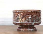 Vintage planter, Midcentury glazed pottery, brown leaf pedestal, green drip accents
