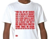 """SALE - REDUCED - Men's Sheffield United Screen Printed Organic Cotton T-Shirt - """"Greasy Chip Butty"""""""