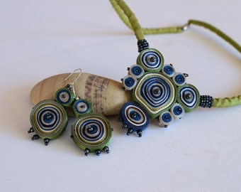 Gift set special offer: textile necklace green, fiber pendant blue and dangle earrings, gift for woman - Handmade jewelry OOAK ready to ship