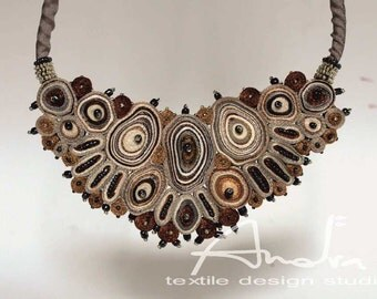 Statement necklace brown, fiber necklace, bib necklace - Handmade textile jewelry OOAK for order