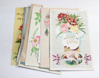 10 Early 1900s Vintage Birthday Postcards - Shades of Pink - Mixed Media, Altered Art, Collage, Scrapbooking, Art Journal Supplies