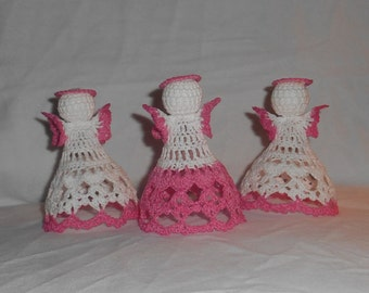 Three Pink and White Crochet Angels #3 - FREE SHIPPING to US and Canada