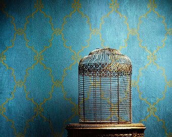 Indian Trellis Allover Wall Stencil for Allover Wallpaper Look