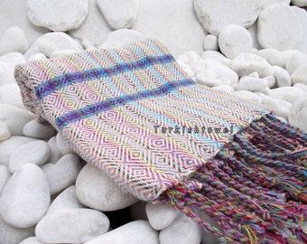 Set of 2-Turkishtowel-Hand woven,20/2 cotton warp and weft Rainbow,Diamond Turkish Bath,Beach Towel-Natural Cream,blue