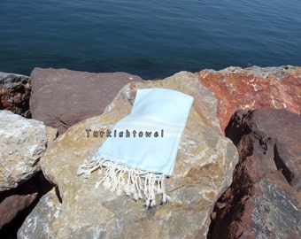 Turkishtowel-Hand woven,20/2 cotton warp and weft ,Herrigbone Turkish Bath,Beach Towel-Aqua and cream stripes