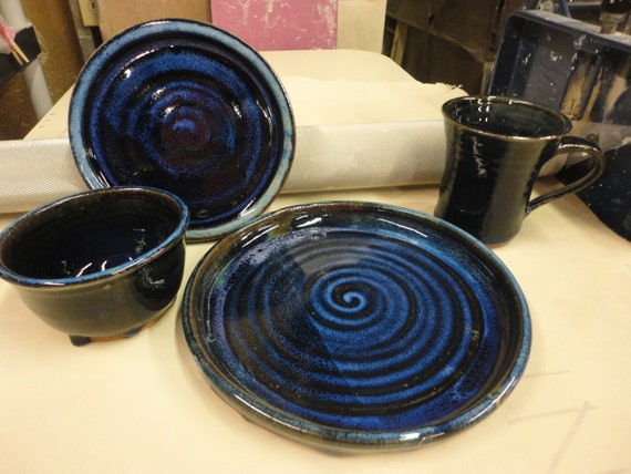 Dinnerware 4 piece place settings in Northern Lights Pottery wedding gift