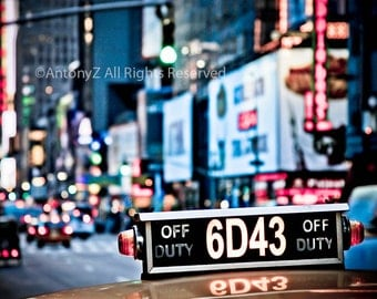 Vintage Downtown Manhattan and New York City Taxi - 8x10 Fine Art Print