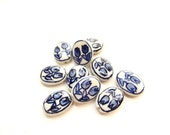 10 Hand-Painted Flat Oval Porcelain Beads / Double Tulip / Blue and White Porcelain