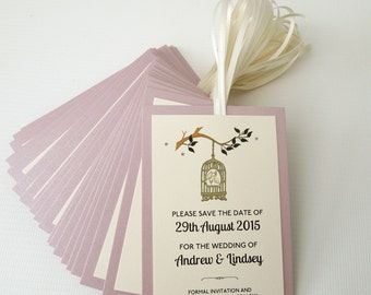 Birdcage Save the Date Cards