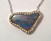 RESERVED FOR G Freeform Heart Opal Doublet sterling silver Necklace