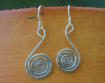 Hand Hammered Silver Spiral Style Earrings